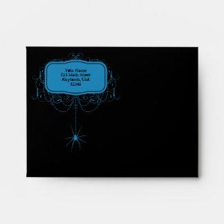A2 Black & Blue Spider Halloween Party Envelopes