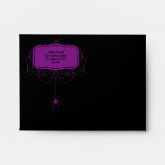 A2 Black & Purple Spider Halloween Party Envelopes