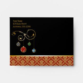 A2 Black Red Damask Ornaments Christmas Envelopes