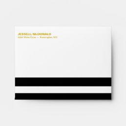A2 Black & White Striped Folklore Flowers | yellow Envelope