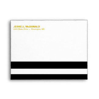 A2 Black & White Striped Folklore Flowers | yellow Envelope