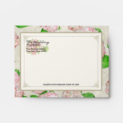 A2 Florist Wedding Business Bouquet Pink Hydrangea Envelopes