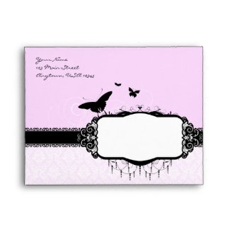 A2 Lilac Purple Butterfly Damask Envelopes envelope