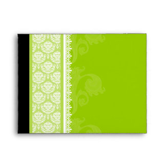 A2 Lime Green One-Side Damask Envelopes