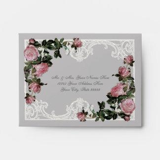 A2 Matching Wedding Envelopes Trellis Rose Vintage