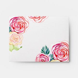 A2 Mod Floral Roses Modern Art Flower Weddings Envelopes