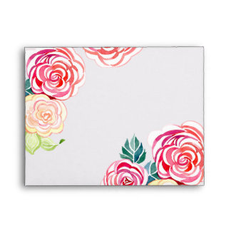A2 Mod Floral Roses Modern Art Flower Weddings Envelope