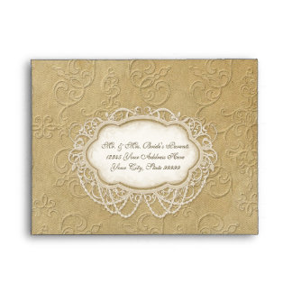 A2 Modern Vintage Lace Tea Stained Hydrangea Roses Envelope