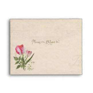 A2 Note Card Elegant Floral Vintage Tulips Art Envelope