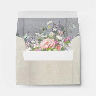 A2 Note Envelope Rustic Elegant Peony Wild Flowers