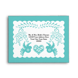 A2 RSVP Card Papel Picado Aqua Fiesta Wedding Envelope