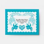 A2 RSVP Card Papel Picado Blue Fiesta Wedding Envelope
