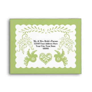A2 RSVP Card Papel Picado Lime Fiesta Wedding Envelope
