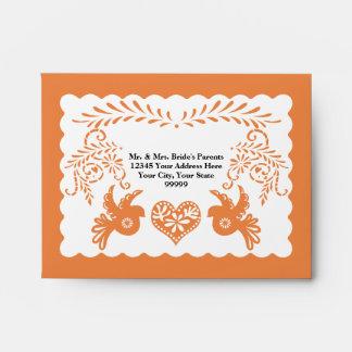 A2 RSVP Card Papel Picado Orange Fiesta Wedding Envelope