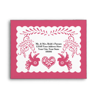 A2 RSVP Card Papel Picado Pink Fiesta Wedding Envelope
