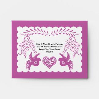 A2 RSVP Card Papel Picado Purple Fiesta Wedding Envelope
