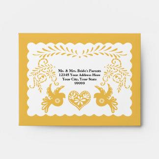A2 RSVP Card Papel Picado Yellow Fiesta Wedding Envelope