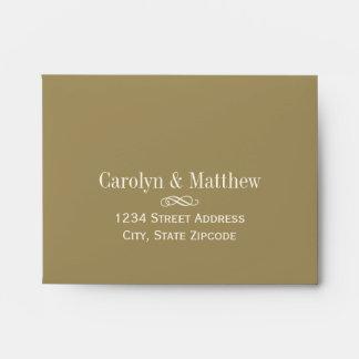 A2 RSVP Envelope Antique Gold Return Address