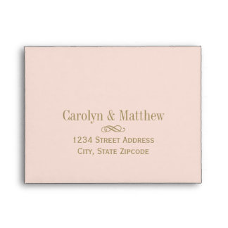 A2 RSVP Envelope Blush Antique Gold Return Address