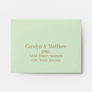 A2 RSVP Envelope Green Antique Gold Return Address