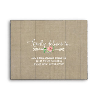 A2 RSVP Response Arrow Boho Bohemian Wood Wedding Envelope