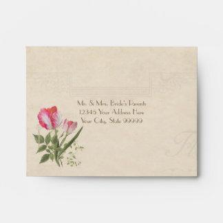 A2 RSVP Response Elegant Floral Vintage Tulips Art Envelope