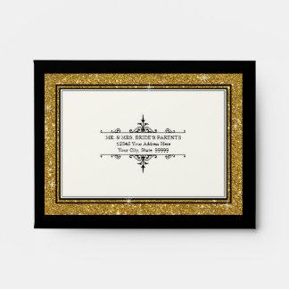 A2 RSVP Return Card Envelopes Gold Glitter