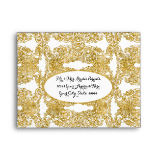 A2 RSVP Return Gold Glitter Engraved Floral Damask Envelope