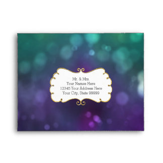 A2 RSVP Return Peacock Color Bokeh Gold Glitter Envelope