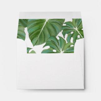 A2 RSVP Tropical Island Palm Tree Jungle Leaf Envelope