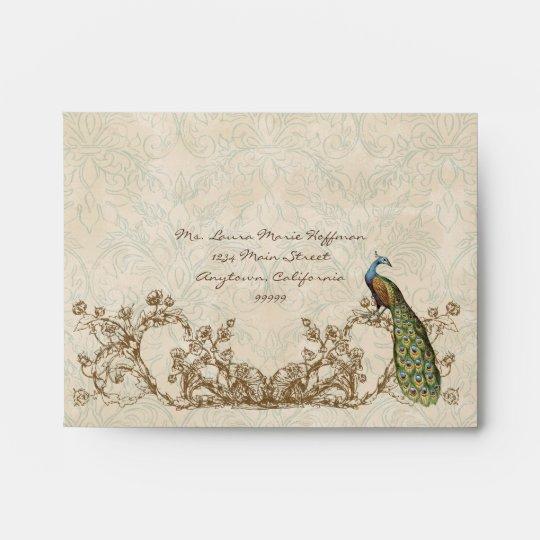 A2 RSVP Vintage Peacock Etchings Wedding Envelopes
