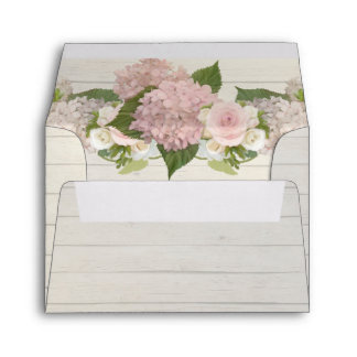 A2 Thank You Note Wood Board Pink Hydrangea Floral Envelope