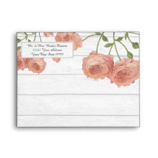 A2 Thank You Wood Pretty Floral Blush Roses Mint Envelope