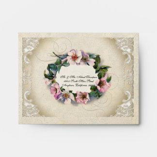 A2 Vintage Floral Lace Wild Pink Rose Swirl Formal Envelope