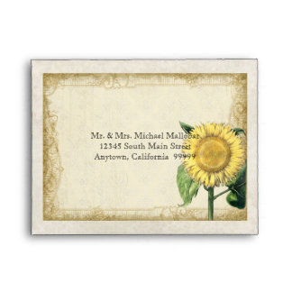 A2 Vintage Floral Sunflowers - Autumn Fall Wedding Envelope