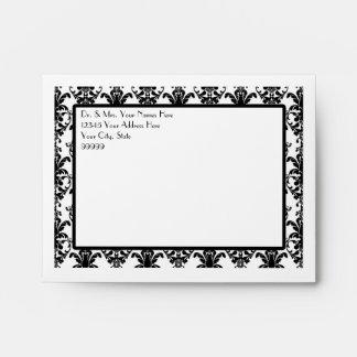 A2 Vintage Jewel Buckle Black White Damask Ribbon Envelope