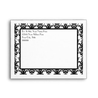 A2 Vintage Jewel Buckle Black White Damask Ribbon Envelopes