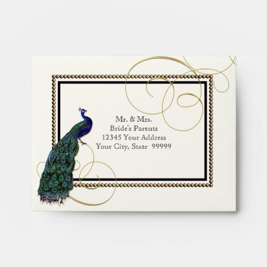 A2 Vintage Peacock Feather 7 Formal Elegant Chic Envelope