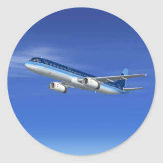 A321 Jet Airliner Aircraft Classic Round Sticker