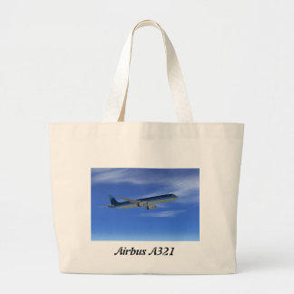 A321 Jet Airliner Aircraft Large Tote Bag