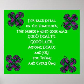 A38 Celtic Knot Kaleidoscopic Shamrock Design.7 Poster