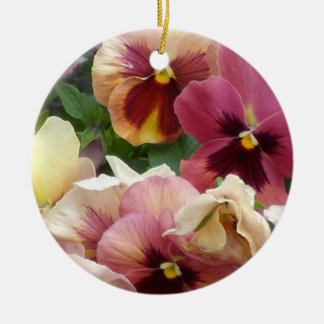 a3 Pink Pansy Party Ceramic Ornament