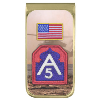 A5 fifth 5th Army Sam houston veterans vets patch Gold Finish Money Clip