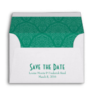 A6 4x6 Emerald Green White Save the Date Envelopes