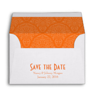 A6 4x6 Orange White Save the Date Envelopes