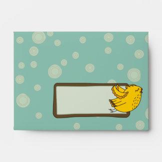 A6 Aqua Blue & Yellow Retro Chic Bird Envelopes