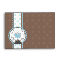 A6 Baby Sheep Blue & Brown Baby Shower Envelopes