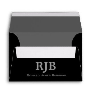 A6 Black and Gray Monogrammed Envelopes
