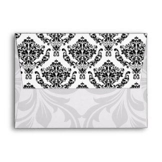 A6 Black and White Damask Flap Envelopes