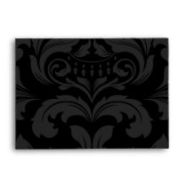 A6 Black and White Damask Flap Envelopes